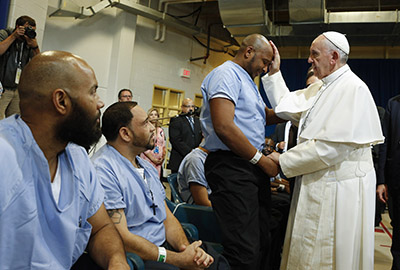 Pope Francis visits prisoners at Curran-Fromhold Correctional Facility in Philadelphia