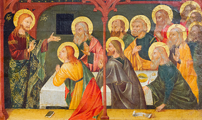 painting of the Resurrected Jesus Christ with His apostles in the Cenacle